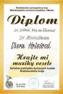 Viera Holešová - diplom za sólovú hru na klarinete